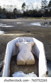 A half torso sits inside an old coffin at a junkyard in Shropshire, England