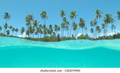HALF UNDERWATER: Glassy ocean water splashes over camera filming tropical island with empty white sand coast. Cinematic shot of a remote paradise beach with palm trees and the crystal clear sea water.