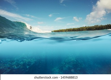 half underwater shot of surfer surfing a reef break wave in Indonesia