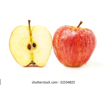 half and whole apple isolated