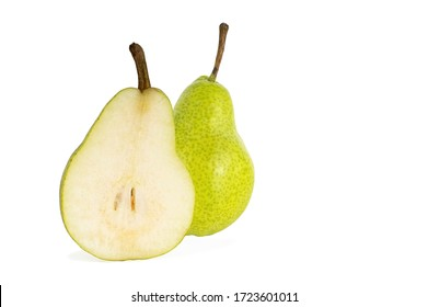 half and whole ripe yellow pear isolated on a white background
