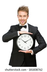 Half-length portrait of businessman holding clock, isolated on white