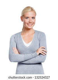 Half-length portrait of girl with arms crossed, isolated on white