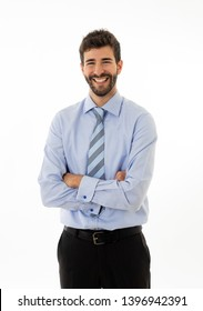 0ccc33b30d54 Half-length portrait of happy handsome caucasian businessman in fashion  modern formal wear suit looking