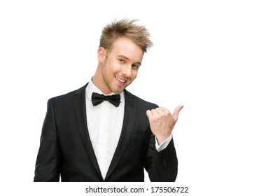 Half-length portrait of manager pointing hand gesture, isolated on white
