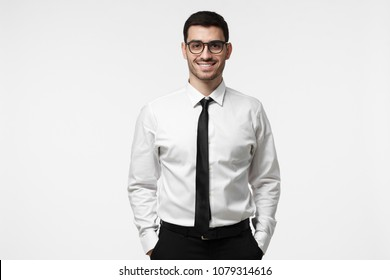 de6c0167bfc Half-length portrait of young European Caucasian man pictured isolated on  grey background dressed in