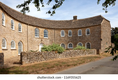 The Half-Moon House at Maugersbury village near Stow-on-the-Wold, Gloucestershire, England