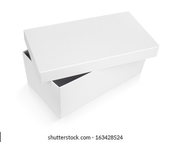half-open shoe box isolated on white with clipping path