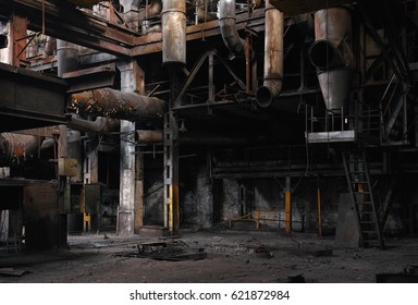 Half-ruined metal structures in an old abandoned factory.