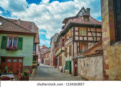 Half-timbered architecture in Alsace. The ancient city of Riboville. Wine Road Alsace. France.