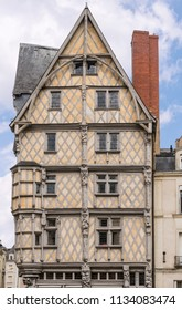 Half-Timbered building in the town of Angers, France. Angers is the historical capital of Anjou and was for centuries an important stronghold in northwestern France.