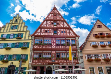 Half-timbered House, Hotel Deutsches Haus, Dinkelsbuhl, Romantic Road, Middle Franconia, Bavaria, Germany, Europe, 15. July 2015