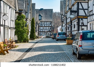 Half-timbered houses in the old town of Freudenberg NRW Siegerland