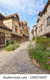 Half-timbered houses on alley at the old town of Troyes, Champagne-Ardenne region, France