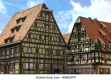 Half-timbered houses in Rothenburg ob der Tauber, a town in Franconia, Germany, where Christmas is always