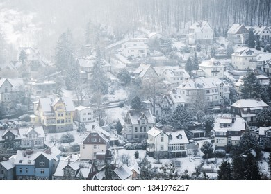 Half-timbered houses in Wernigerode in Winter