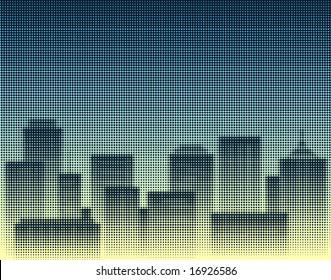 Halftone design of a city skyline