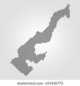 halftone dot map of monaco