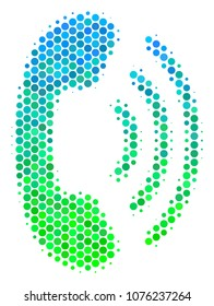Halftone round spot Phone Ring icon. Icon in green and blue color hues on a white background. Raster pattern of phone ring icon organized of sphere pixels.