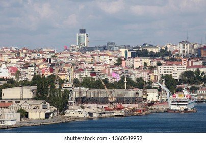 Halic (Golden Horne) and shipyard from Balat District in Istanbul, Turkey.