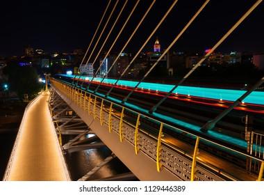 Halic Metro Bridge in Istanbul at night, Turkey