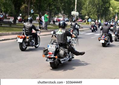 HALIC, SLOVAKIA - MAY 28: Unidentified bikers during the BIKE PARTY HALIC 2012 on May 28, 2012 in Halic, Slovakia