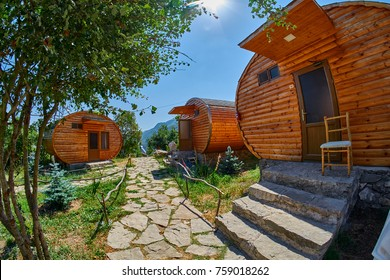 HALIDZOR, ARMENIA - 03 AUGUST 2017: Harsnadzor Eco Resort cottages near Tatev Monastery