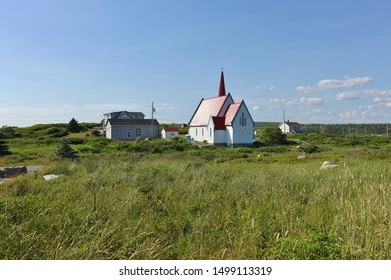 HALIFAX, CANADA -20 JUL 2019- View of the picturesque St John's Anglican Church, a historic Carpenter Gothic style church in Peggy's Cove outside of Halifax, Nova Scotia, in St Margaret's Bay.