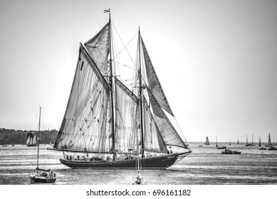 HALIFAX, CANADA - AUG 1, 2017: The iconic Bluenose II during the Tall Ships Parade of Sail in Halifax. The original fishing and racing schooner is featured on the Canadian dime.