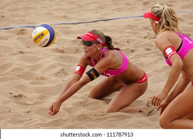 HALIFAX, CANADA - AUGUST 31: Anouk Verge-Depre of Switzerland competes at the FIVB Beach Volleyball Swatch Junior World Championships on Aug. 31, 2012 in Halifax, Canada.