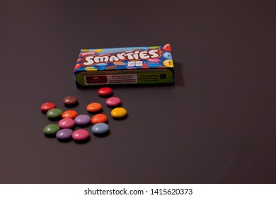 Halifax, Canada- May 31, 2019: Horizontal photo of package of Nestle company Smarties chocolate
