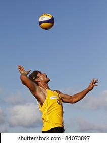 HALIFAX, CANADA - SEPTEMBER 2: Henry Glockner of Germany serves at the FIVB Beach Volleyball Swatch Junior World Championships on Sept. 2, 2011 in Halifax, Canada.