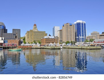 Halifax harbour front with city skyline in the background, Halifax Nova Scotia Canada