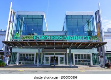 HALIFAX, NOVA SCOTIA -7 OCT 2019- View of the Halifax Seaport Farmers Market on the waterfront in Halifax, Nova Scotia, Canada.