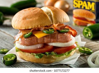 Halifax, Nova Scotia / Canada - April 24 2018: A cheddar jalapeno burger made with Spam canned luncheon meat.