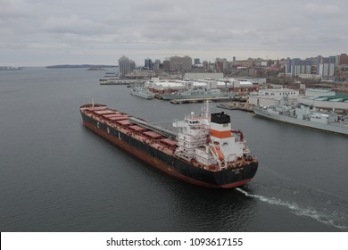 Halifax, Nova Scotia / Canada - April,14 2018: An oil tanker leaves the Halifax Harbour