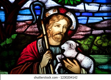 HALIFAX, NOVA SCOTIA, CANADA- AUG 27, 2014: Detail of Jesus the good shepherd from a selection of religious stained glass. Found in St. Paul's Anglican Church, Halifax, NS