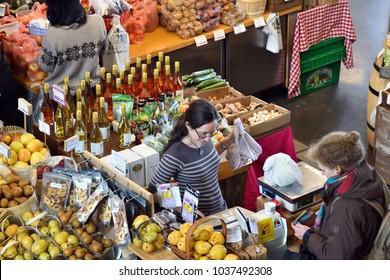 Halifax, Nova Scotia / Canada - February 17 2018:  Shoppers Halifax Seaport Farmers' Market