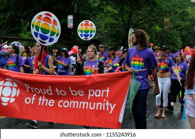 Halifax, Nova Scotia, Canada- July 21 2018: CBC employees march downtown in the cities annual pride parade.