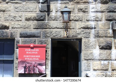Halifax, Nova Scotia/ Canada: May 13, 2019 – Sign for Halifax Citadel National Historic Site, a 250-year-old hilltop fortification overlooking the city. Most visited of historic sites in Canada.