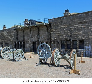 Halifax, Nova Scotia/ Canada: May 13, 2019 – Defensive weapons at Citadel National Historic Site, a 250-year-old hilltop fortification overlooking the city. Most visited of historic sites in Canada.