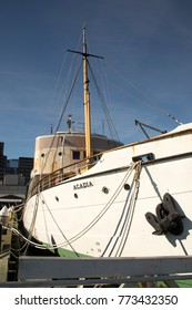 Halifax, Nova Scotia, Canada - October 28, 2017 :  Survey and oceanographic historic CSS Acadia on waterfront of Halifax, Nova Scotio on sunny day.