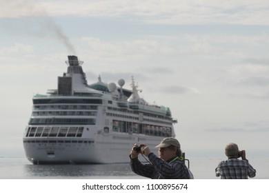 Halifax, Nova Scotia / Canada - September 9, 2016: Royal Caribbean cruise ship Grandeur of the Seas sails into port.