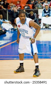 HALIFAX, NOVA SCOTIA (February 20, 2009). The Halifax Rainmen take on the Vermont Frost Heaves in Premier Basketball League action at the Halifax Metro Centre. Rainmen guard #13 Tony Bennett.