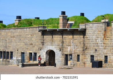 HALIFAX NOVA SCOTIA JUNE 4: Defense wall Fort George a fortified summit of Citadel Hill, a National Historic Site of Canada in Halifax JUNE 4, 2014, at Halifax Citadel, in Nova Scotia, Canada,