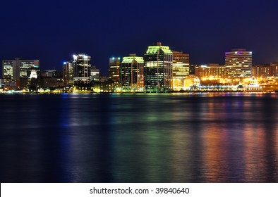 Halifax Nova Scotia at night. Taken from across the harbor in Dartmouth