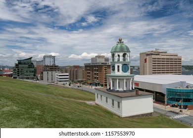 HALIFAX, NOVA SCOTIA/CANADA - JULY 15, 2018: Town Clock, or Citadel Clock Tower, on Brunswick Street in downtown Halifax