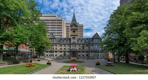 HALIFAX, NOVA SCOTIA/CANADA - JULY 16, 2018: Exterior of Halifax City Hall on Argyle Street in downtown Halifax