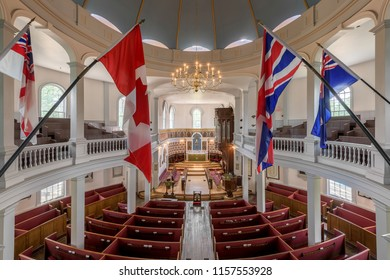HALIFAX, NOVA SCOTIA/CANADA - JULY 16, 2018: Interior of the historic St. George's (Round) Church on Brunswick Street in Halifax
