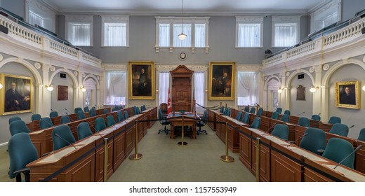 HALIFAX, NOVA SCOTIA/CANADA - JULY 16, 2018: Legislative Assembly Chamber of the Province House on Hollis Street in downtown Halifax